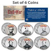 American CIVIL WAR North UNION LEADERS JFK Half Dollars 6-Coin Set LINCOLN GRANT