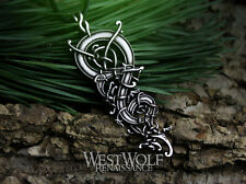 Viking Dragon Pendant with Curled & Knotted Body --- Norse/Celtic/Steel/Serpent