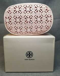 TORY BURCH Cosmetic Case Patent Light Pink Makeup Pouch Toiletry Bag