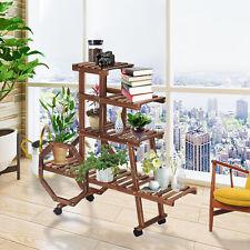 Multi Tier Wooden Plant Stand Holder Indoor Outdoor Flower Rack Display w/ Wheel