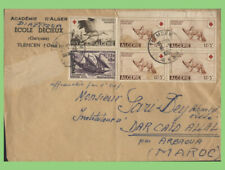 More details for algeria 1957 multi franked (inc red cross) tlechen to morocco