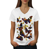 Wellcoda Butterfly Wild Animal Womens V-Neck T-shirt, Bug Graphic Design Tee