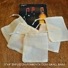 """5 X BREWING STEEPING-MUSLIN BAGS 3""""X4"""" INFUSION-FERMENTATION-HERB/SPICES = £4.98"""