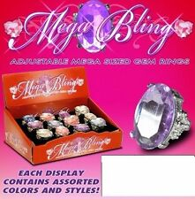 12 x beautiful crystal rhinestone Mega Bling Rings/adjustable Mega size