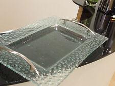 IMPRESIONANTE RARO BOLITAS vidrio verde con plateado tiradores BANDEJA PLATO