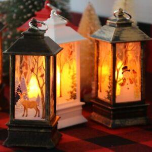 1-3PC Christmas Mini LED Lantern Santa Claus Candle Light Up Xmas Tree Ornaments