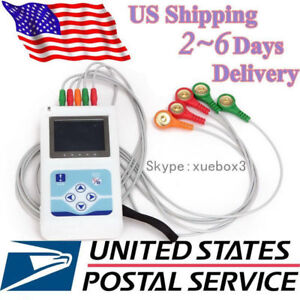 Holter portable 3-lead Dynamic ECG Systems 24-hour recorder ECG waveform USA FDA