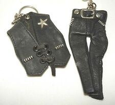 Miniature Motorcycle Vest and Leather Pants Key Ring Holders