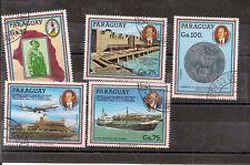 N°313- 5 très beaux timbres de la même série  du Paraguay -oblitérés