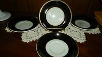 Reduced! Rare-Black/White Vintage Jackson China Restaurant Ware Saucers- Four