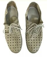 Guidi Women's Tan Tie Leather Shoes size 37 Aerated Leather