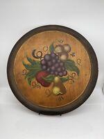 "Vtg Tole Folk Art Tray  Hand painted Tom Fitz Simons Manchester Vermont 15.5"""