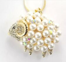 Betsey Johnson Necklace SHEEP CRYSTALS Gold Pearl Adorable