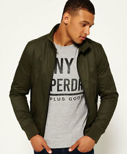 New Mens Superdry Winter Longhorn Harrington Jacket Dark Khaki