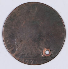1775 Colonial Machin's Mill British/Colonial Half Penny 3.81 DWT Holed