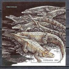 Animaux Crocodiles Tanzanie (86) bloc oblitéré