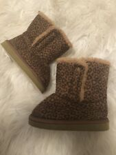 Baby Girls size 7 LEOPARD Tan Fur Lined Fall/Winter Slip On Snow Boots Shoes