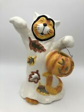 2015 Blue Sky Heather Goldminc-Cat in Ghost Costume Halloween Candle Holder