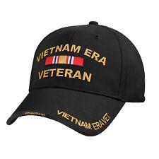 Vietnam Veteran Era Low Profile Black Baseball Cap 7619