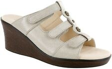 Women's sz 8 Narrow N AA SAS Ginger Sandals Web Linen Bone Patent Slide Sandals