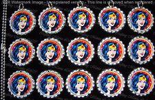 15 Wonder Woman Silver Flat Bottle Cap Necklaces Set 1