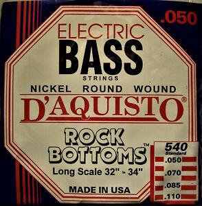 D'Aquisto 'Rock Bottoms' Bass Guitar Strings, 50-11, Long Scale, #540