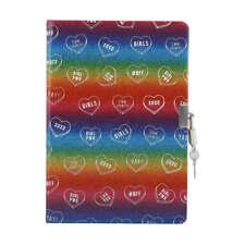 Glitter Rainbow Lockable BFF Girls Heart Secret Diary Birthday Journal lock key