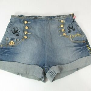 Dereon Blue Jean Denim Short Cuffed Size Zip 7/8 Gold Buttons Rope Hand Painted