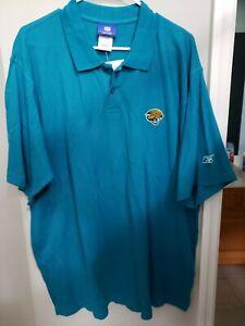 NWT Jacksonville Jaguars Reebok NFL Cotton Polo Shirt Short Sleeve Teal XL