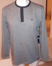 Versace Italia V1969 Mens Long Sleeve Shirt Gray 1/4 Button LARGE L Black Collar