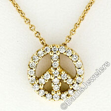Petite 14K Yellow Gold .32ctw Round Brilliant Diamond Peace Sign Pendant & Chain
