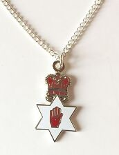 Irish Red Hand of Ulster and Crown Pendant, Chain and Organza Pouch K099P