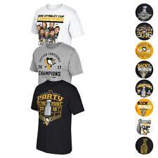 Pittsburgh Penguins Reebok 2016 & 2017 Stanley Cup Various Graphic T-Shirt Men's