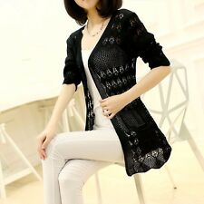 Fashion Women Lady Sweater Long Sleeve Knit Crochet Cardigan Outwear Jacket Coat