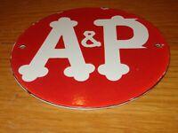 "VINTAGE A & P TEA COFFEE GROCERY STORE 6"" PORCELAIN METAL A&P GASOLINE OIL SIGN!"