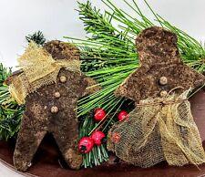 "Primitive Country Christmas Grubby Cinnamon Gingerbread Boy Girl Bowl Filler 5"""