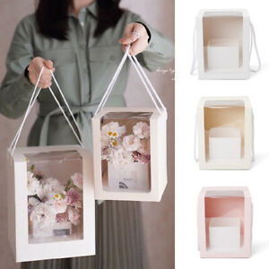 New Transparent Flower Packing With Handle Clear Window Square Shape Paper Box