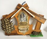 "Mexican Holy Water Font Wood Glass Metal 10"" Vtg Mid Century Villapando"
