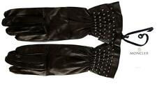 NEW MONCLER LADIES BLACK LAMBSKIN LEATHER STUDS EMBROIDER WRIST GLOVES L