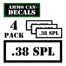 38 SPL Ammo Can Stickers 4x .38 Special Ammunition Gun Case Label Decal 4pack WT