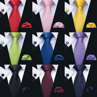 Mens Tie Silk Black Red Blue Purple Green Solid Color Tie and Pocket Square Set