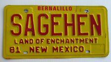 """1981 NEW MEXICO VANITY LICENSE  PLATE """" SAGEHEN """" SAGE HEN  ROADRUNNER BIRD NM"""