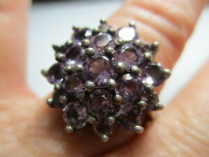 STERLING SILVER VINTAGE CHUCK CLEMENCY STS PURPLE AMETHYST FLOWER RING SIZE 9