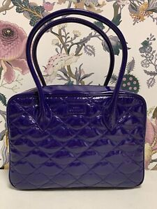 Lulu Guinness Purple Patent Leather Quilted Lips Shoulder Bag (C-2)