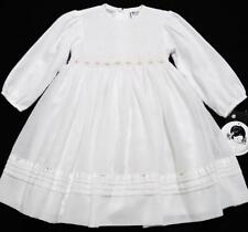 SARAH LOUISE 2Y SMOCKED WHITE VOILE DRESS W/FLORAL EMBROIDERY & PEARLS~NWT'S