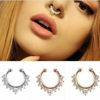 Clip-On Non Piercing Fake Gold Silver Nose Lip Eyebrow Nipple Cartilage Ring