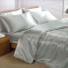 SILVER SATIN DOUBLE DUVET COVER SET + FITTED SHEET + 4 PILLOWCASES