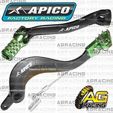 Apico Black Green Rear Brake & Gear Pedal Lever For Kawasaki KXF 450 2011 MotoX