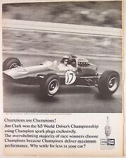 "Print Ad 1965, Champion Spark Plugs, Jim Clark Lotus Formula 1 Car 10""x13.5"", VG"