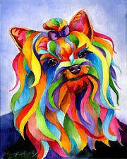 PARTY YORKY 8X10 Dog print of Yorkshire Terrier by Artist Sherry Shipley